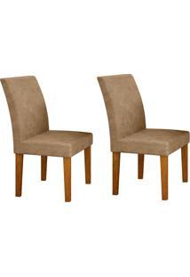 Conjunto Com 2 Cadeiras Olímpia Imbuia Mel E Cinza
