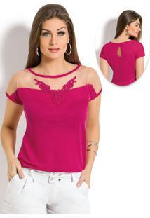 Blusa Com Recorte E Guipir No Decote Pink