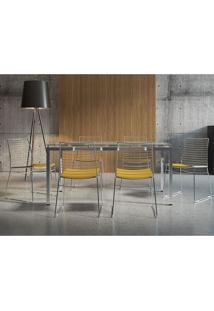 Conjunto Mesa 328 Vidro Incolor Cromada Com 6 Cadeiras 1712 Amarela Carraro