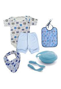 Acessórios De Bebê Kit Enxoval 7 Pçs Body Babador E Pratinho Azul