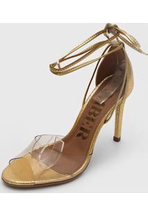 Sandália Amber Transparente Dourada