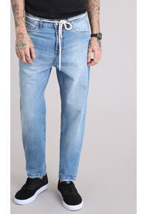 Calça Jeans Masculina Baggy Com Cordão Azul Claro