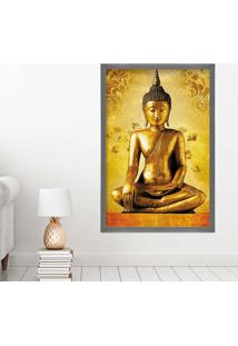 Quadro Love Decor Com Moldura Golden Buddha Grafitti Metalizado Grande