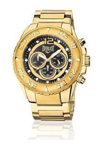 20f7bdd959c ... Relógio Everlast Cronógrafo Cx E Pulseira Aço Masculino - Masculino- Dourado+Preto
