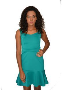 Vestido Curto Urban Lady Justo Com Babado Verde