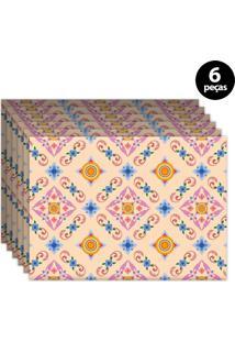 Jogo Americano Mdecore Ornamental 40X28Cm Rosa 6Pçs
