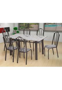 Conjunto De Mesa Com 6 Cadeiras Luana Craqueado Preto E Listrado Bco E Pto