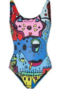 Ellie Rassia Miami Baywatch Scoop Neck Printed Swimsuit - Verde