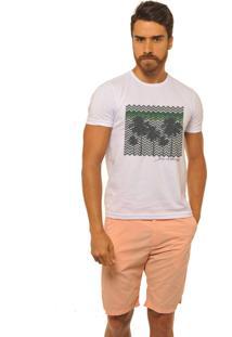 Camiseta Masculina Joss Premium New Coqueiros Geometricos Branca