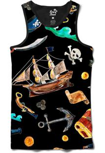 Regata Long Beach Náutica Elementos Piratas Sublimada Preto