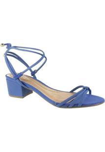 Sandália Salto Baixo M Shuz San Feminina - Feminino-Azul