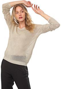 Blusa Calvin Klein Tricot Pontos Vazados Bege