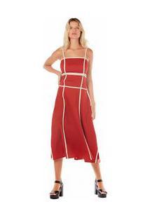 Vestido Midi Decote Quadrado Detalhe Vies Vermelho Pp