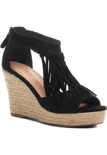 Sandália Anabela Shoestock Corda Franja Feminina - Feminino-Preto