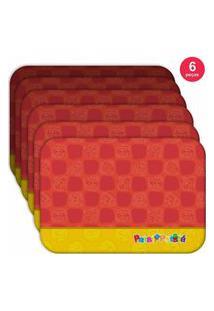 Jogo Americano Turma Patati Patatá Vermelho - Produto Licenciado Kit Com 6 Pçs