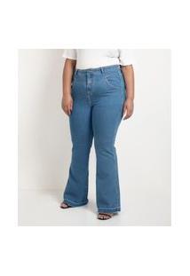 Calça Jeans Flare Com Botão Forrado Curve & Plus Size Azul
