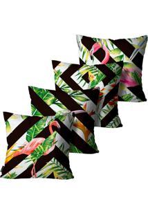 Kit Com 4 Capas Para Almofadas Premium Peluciada Mdecore Flamingo Colorido 45X45Cm