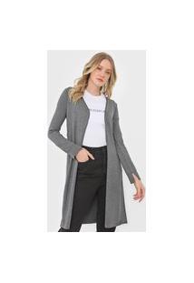 Maxi Cardigan Tricot Calvin Klein Jeans Textura Cinza