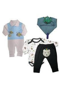 Body Estampado Saída Maternidade Enxoval Para Bebê Kit 4 Pçs Azul