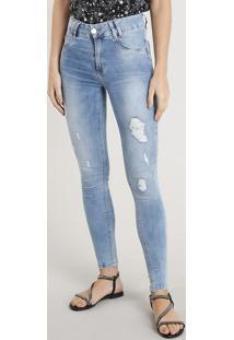 c2e861f4b ... Calça Jeans Feminina Cigarrete Sawary Com Puídos Azul Claro