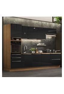 Cozinha Completa Madesa Lux 320004 Com Armário E Balcáo - Rustic/Preto Marrom