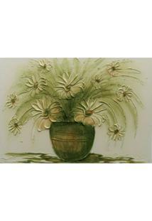 Quadro Artesanal Com Textura Vaso Com Flores Verde 70X100 Uniart