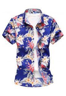 Camisa Masculina Design Havaiana - Azul