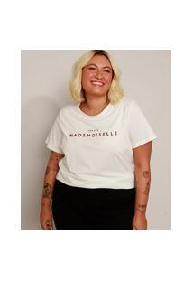 """Camiseta Feminina Plus Size Mademoiselle"""" Manga Curta Off White"""""""