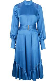 Alexis Vestido De Cetim Calypsa - Azul