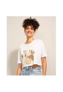 Camiseta De Algodão Cropped Cactos Manga Curta Decote Redondo Off White