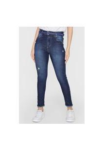 Calça Jeans Sawary Skinny Destroyed Azul-Marinho