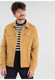Jaqueta De Sarja Masculina Com Bolsos Mostarda