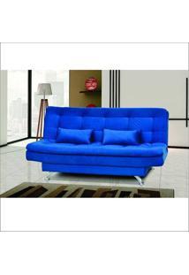 Sofá Cama Matrix Salome Suede Amassado Com Almofadas Azul