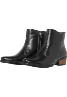 Bota Casual Zíper Touro Boots Feminina Preto - Kanui