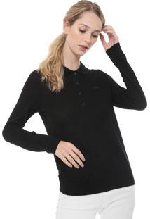 c579da73d02cc Camisa Pólo Lacoste Preta feminina   Shoelover