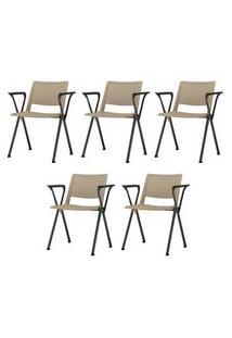 Kit 5 Cadeiras Up Com Bracos Assento Bege Base Fixa Preta - 57811 Bege