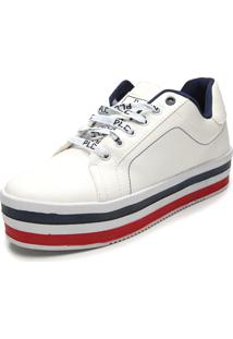 Tênis Flatform Polo London Club Listras Branco
