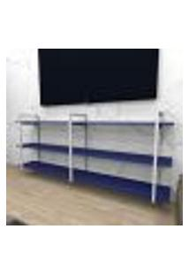 Rack Industrial Aço Cor Branco 180X30X68Cm (C)X(L)X(A) Cor Mdf Azul Modelo Ind33Azrk