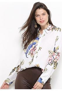 Camisa Facinelli Floral Manga Longa Botões Feminina - Feminino-Branco
