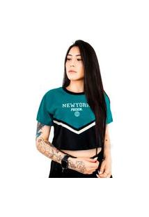 Camiseta Cropped Prison Feminina Prison New York Blue Night
