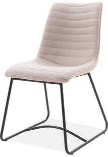 Cadeira Beatriz Tecido Vintage Bege Base Preta - 59445 - Sun House