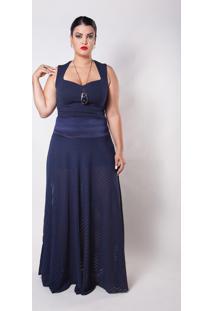 Saia Kapsuli Plus Size Longa Transparente Azul Marinho