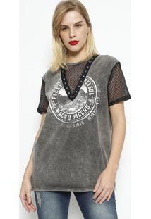 Camiseta ''Machu Picchu'' Com Tela- Cinza & Pretadimy