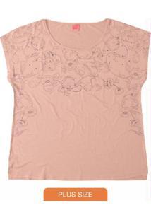 Blusa Rosa Claro Floral Decote Canoa Wee!