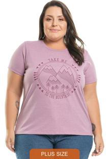 T-Shirt Estampada Mountains Rosa