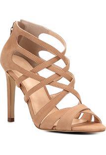 Sandália Couro Shoestock Salto Fino Tiras Cruzadas Feminina - Feminino-Nude