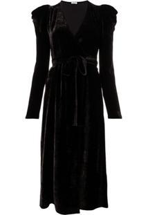 P.A.R.O.S.H. Vestido De Veludo Com Cinto - Marrom