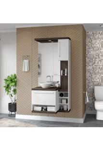 Gabinete Para Banheiro Sem Cuba Com Espelheira Arezzo Siena Móveis Nogal Sevilha/Branco