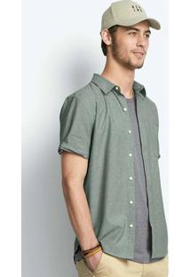 Camisa Masculina Slim Em Tecido De Algodão Com Bolso