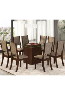 Conjunto Para Sala De Jantar Mesa E 8 Cadeiras Amora Siena Móveis Choco/Canela